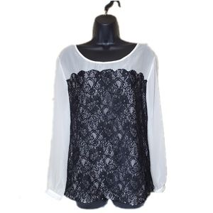 Daisey Fuentes Women's 1X Lace Long Sleeve Blouse